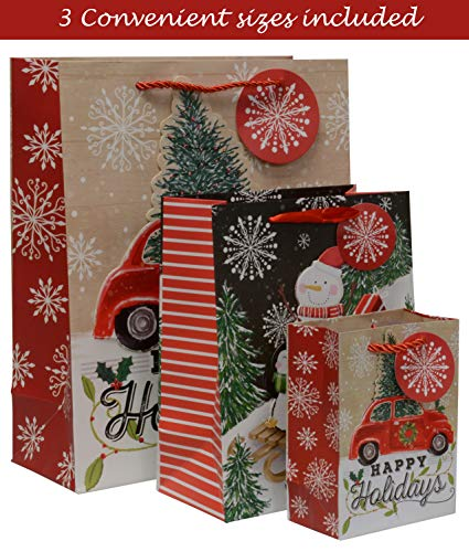 Christmas Gift Bags with Ribbon and Rope Handles Small Medium and Large Sizes with Gift tag Holiday Snowman Designs (Bulk Set of 18) ()