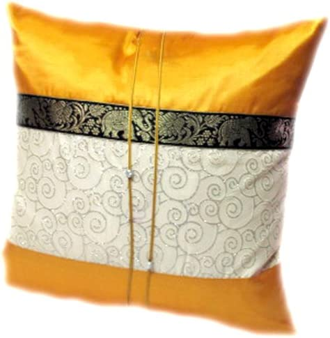 Two Tone Yellow Elephant Middle Stripe Throw Cushion Cover Pillow Sham Handmade by Satin and Thai Silk for Decorative Sofa, Car and Living Room Size 16 X 16 Inches