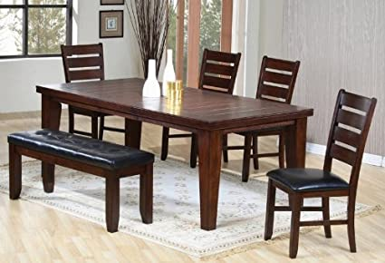 Amazoncom 6pc Contemporary Dining Table Chairs And Bench Set