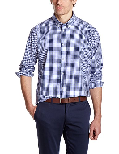 Crafted collar men 39 s slim fit button down collar gingham for Slim fit gingham check shirt