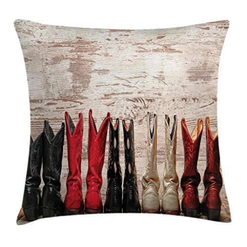 Ambesonne Western Throw Pillow Cushion Cover, American Legend Cowgirl Leather Boots Rustic Wild West Theme Cultural Print, Decorative Square Accent Pillow Case, 24 X 24 Inches, Beige Red Black