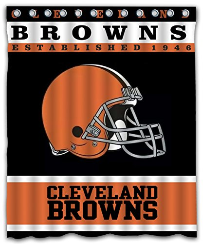 Sonaby Custom Cleveland Browns Waterproof Fabric Shower Curtain For Bathroom Decoration (60x72 Inches) - Cleveland Browns Shower Curtain