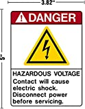"""Danger Hazardous Voltage Contact Will Cause Electric Shock Disconnect Power Before Servicing Decal Sticker Placard 3.82""""W X 5""""H"""