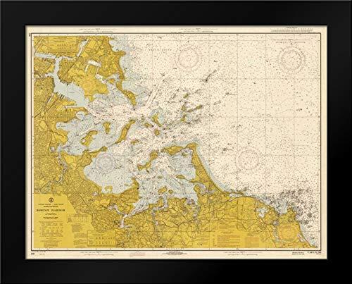 Nautical Chart - Boston Harbor ca. 1970 - Sepia Tinted Framed Art Print by NOAA Historical Map-Chart (Harbor Chart Boston)