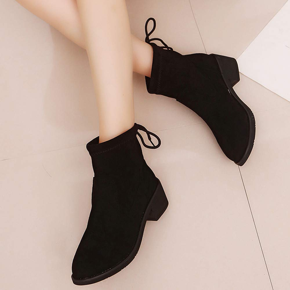 Oudan Bottes Femmes Chaussures Bottines Bottines Bottines Mode Femme Daim Bout Rond Chaussures Compensées Chaudes Bottes de Neige Chaussures (coloré : Noir, Taille : 35 EU)B07KHYLYYWParent 8c15cf