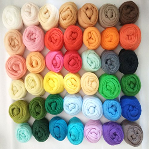 Set of 36 Colors Wool Roving Wool Fibre Yarn Roving DIY Craft Materials