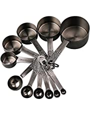 Lucky Plus Stainless Steel Measuring Cups and Spoons Set 18/8(304)Steel Material Heavy Duty 8 Measuring Cups and 9 Measuring Spoons 1 Leveler and 2 Rings