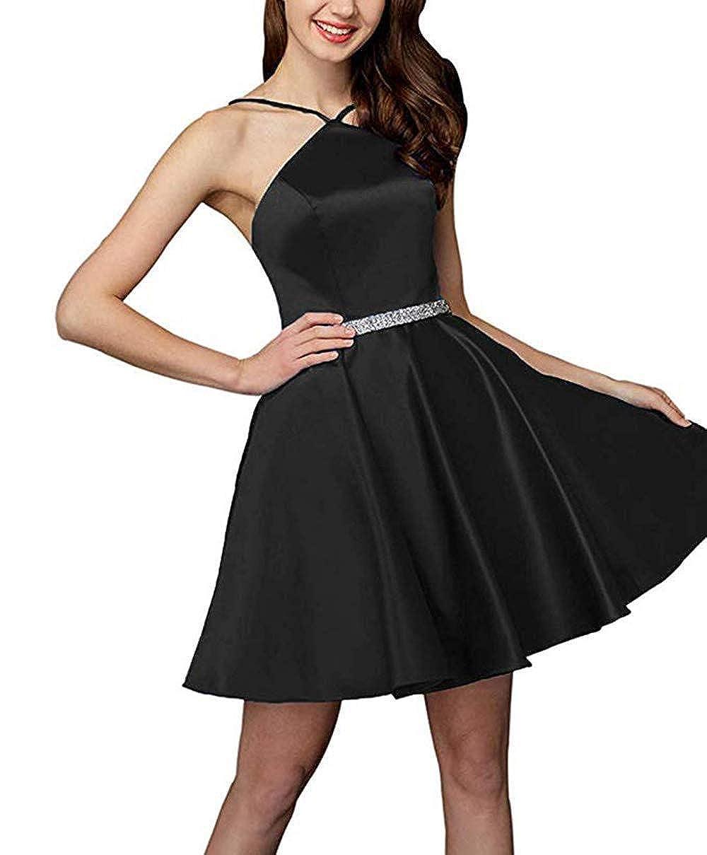 Black XingMeng A Line Short Homecoming Dress 2018 Beaed Halter Mini Prom Cocktail Dress