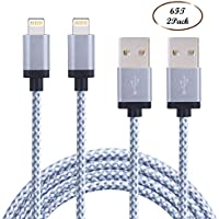 EverDigi 2pcs 6FT Nylon Braided Charging Cable Data & Sync Charging Cord 8-Pin Lightning to USB Cable Charger for iPhone 7/ 7 Plus/6/6s/6 plus/6s plus, iPhone 5/5s/5c,iPad, iPod