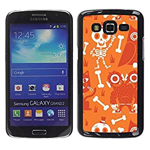 LECELL--Funda protectora / Cubierta / Piel For Samsung Galaxy Grand 2 SM-G7102 SM-G7105 -- Scull Skeleton Happy Halloween --