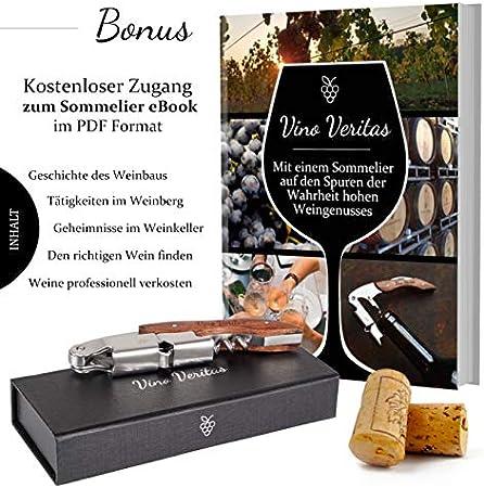 Vino Veritas - Sacacorchos profesional (abridor de vino) – Cuchillo para sommelier, sacacorchos de acero inoxidable y con mango de madera natural de alta calidad