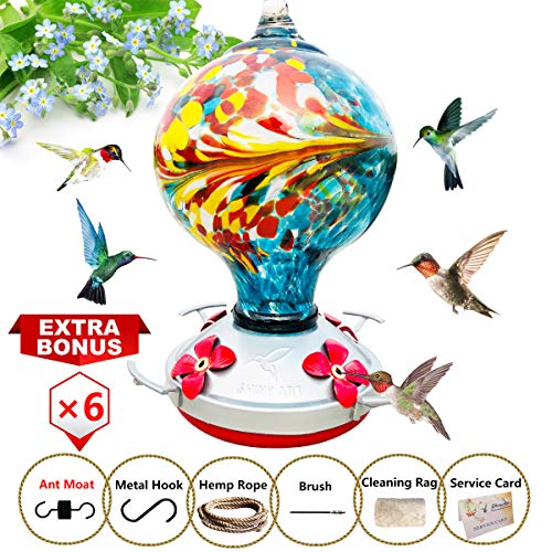 - ShinyArt Hummingbird Feeder - Hand Blown Glass - Blue - 38 Fluid Ounces Nectar Capacity Include Ant Moat, Metal Hook, Hemp Rope, Brush, Cleaning Rag and Service Card