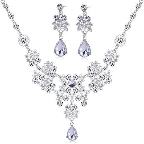Silver Alloy Rhinestone Earrings Crystal Pendant Necklace Bridal Jewelry Set (White)