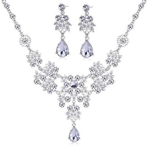 Outop Silver Alloy Rhinestone Earrings Crystal Pendant Necklace Bridal Jewelry Set (White)