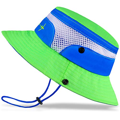 Baby Sun Hat Toddler Sun Hat Kids Breathable Bucket Sun Protection Hat | Adjustable, Stay-on Chin-Strap, Summer Play-2-4 Years Fluorescent Green