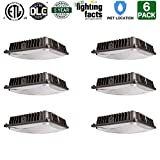 Hykolity 70W LED Canopy Light Commerical Grade Weatherproof Outdoor High Bay Balcony Carport Driveway Ceiling Light [350W HID/HPS Equivalent] 6000lm 5000K DLC Qualified-Pack of 6
