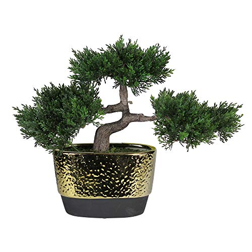 (Northlight Decorative Artificial Japanese Bonsai Tree in Oval Gold Plated Ceramic Pot 10