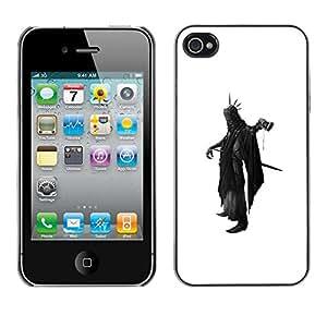 LECELL--Funda protectora / Cubierta / Piel For Apple iPhone 4 / 4S -- Death Apocalypse Black Cape Axe Futurism Sword --