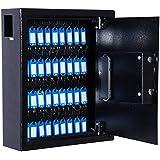 "HomCom 12"" 40 Key Steel Wall Mount Lockable Key Organizer Cabinet with Key Tags - Black"