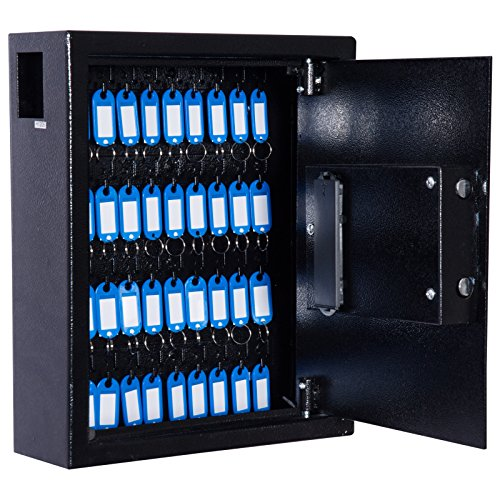 HOMCOM 40 Key Steel Wall Mount Lockable Key Organizer Storage Cabinet with Key Tags - Black