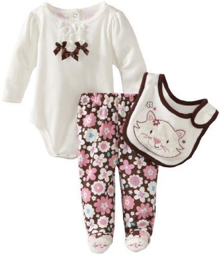 Kids Headquarters Baby-Girls Newborn Stucco Bodysuit With Printed Leggings And Bib