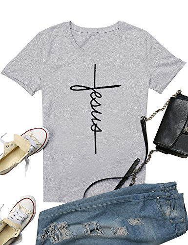 Printed Cross (SCX Women Cross Jesus Printed Tees Letter Print T-Shirt Summer Grey Tees (M, Jesus_Grey))