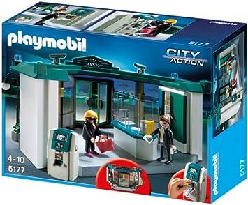 PLAYMOBIL Policía - Banco con Caja Fuerte, Juguete Educativo, 40 x 12,5 x 30 cm, (5177): Amazon.es: Juguetes y juegos