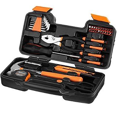 VonHaus Orange 39-Piece Tool Set - General Household Hand Tool Kit with Plastic Toolbox Storage Case