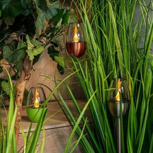 Edelstahl 4er Set LED Solar Fackel mit Flammeneffekt 3 in 1 Gartenleuchten Gr/ün Gr/ün und Kupfer