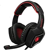 [2016 Newest]SADES Spirit Wolf 3.5mm Wired Gaming Headset with Microphone,Deep Bass Over-the-Ear Noise Isolating, Volume Control, LED Lights For PC Gamers (Black Red)