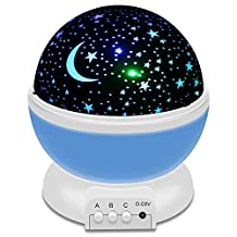 Night Lighting Lamp, Arespark Star Light Projector Night Projection Romantic for Children Kids Bedroom Christmas Gifts with 3 Modes 4 LED Beads 360 Degree Rotation - Blue