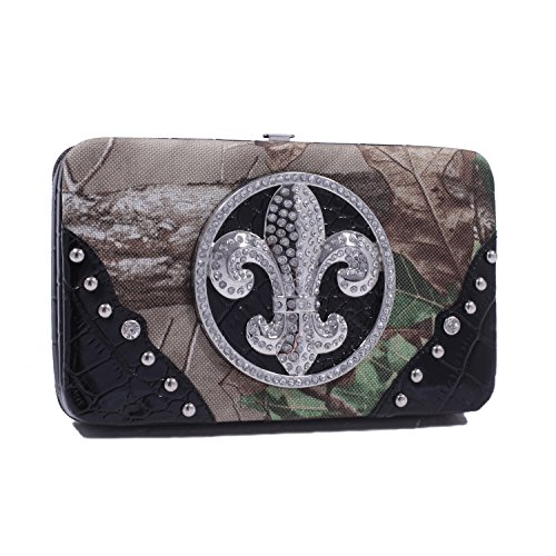 Emperia Women's Lily Realtree Hard Case Fleur De Lis Snap Wallet, One Size, Realtree XG Camouflage with Black Trim ()