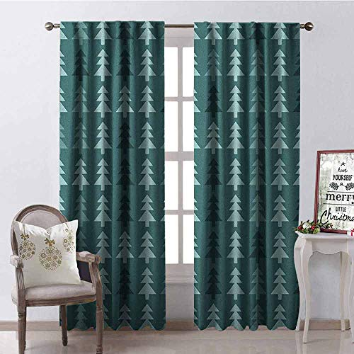 GloriaJohnson Teal 99% Blackout Curtains Abstract Pine Fir Tree Silhouettes Triangular Christmas Wintertime Seasonal Forest Pattern for Bedroom- Kindergarten- Living Room W52 x L63 Inch Teal