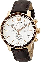 Tissot Men's T0954173603700 Rose Gold-Tone Chronograph Watch with Brown Leather Band