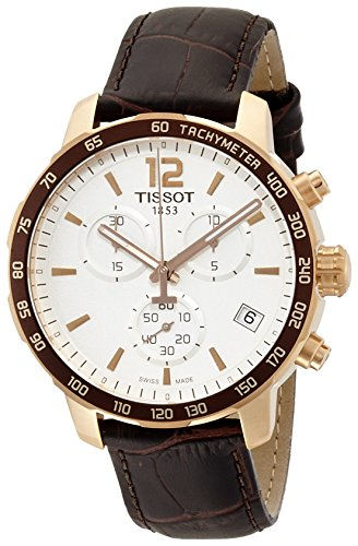 Tissot Men's T0954173603700 Rose Gold-Tone Chronograph Watch with Brown Leather Band (Chronograph Tachymeter Gents Watch)