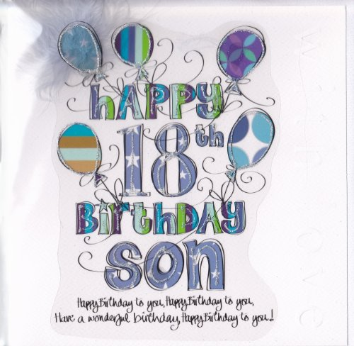 Son 18th Birthday Card   Large, Luxury Birthday Card: Amazon.co.uk