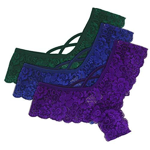 Miuye yuren Nightgown Women Sexy Sleepwear Lace Flowers Low Waist Panties G-String Lingerie ()