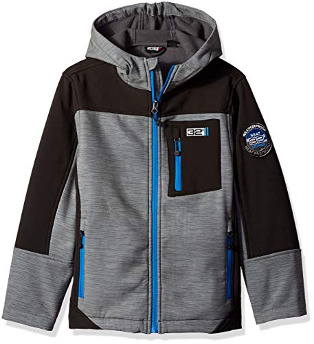 32 DEGREES Weatherproof Boys' Big Outerwear Jacket (More Styles Available), Hooded Softshell Heather Grey, 10/12 ()