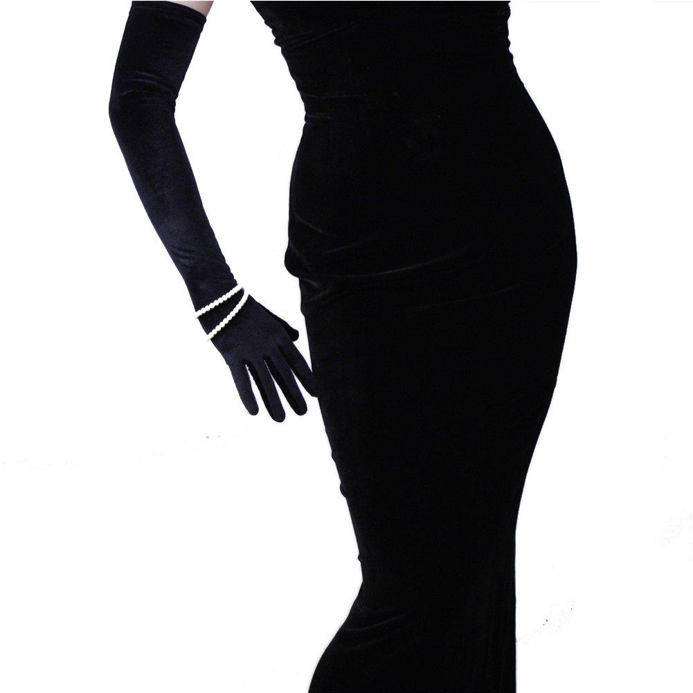 Velvet Gloves Opera Evening Extra Long Elastic Stretchy Velours Flannel Black 60