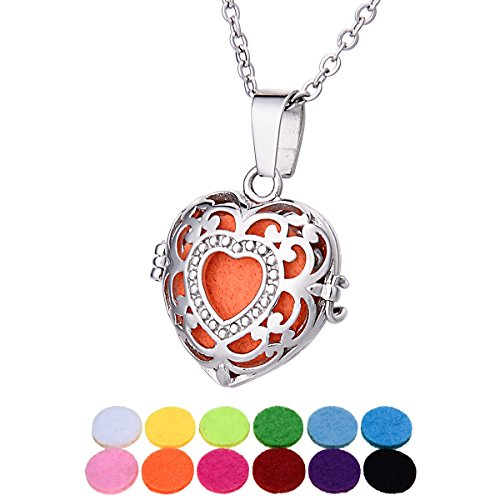 (Aromatherapy Essential Oil Diffuser Necklace/ Heart Hollow Vines/ Stainless steel/ Openable Aromatic Pendant 27mmx25mm)