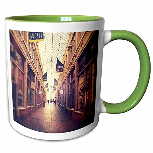 3dRose Perkins Designs Cities And Structures - On The Mall - stylized photograph of shopping arcade located in Ann Arbor, Michigan - 11oz Two-Tone Green Mug - City In Malls Michigan