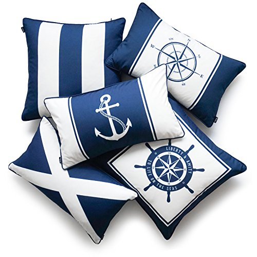 (Hofdeco Nautical Indoor Outdoor Pillow Cover ONLY, Water Resistant for Patio Lounge Sofa, Navy Blue Wheel Flag Anchor Compass Stripes, 18