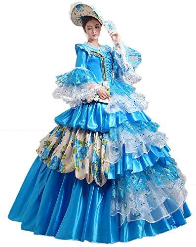 Marie Antoinette Dress (Zukzi Women's Prom Gothic Victorian Fancy Palace Masquerade Dresses, 1506 Blue 4)