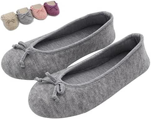 HomeTop Women's Elegant Cashmere Knitted Memory Foam Indoor Ballerina House Slippers / Shoes