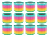 AJ Toys & Games 12 Pack Classic Slinky Spring Toy with Cool Rainbow Colors, Plastic Spring Toy for Birthday Party Favors, Goodie Bag Fillers, Gifts