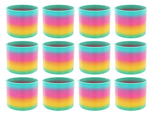 AJ Toys & Games 12 Pack Classic Slinky Spring Toy with Cool Rainbow Colors, Plastic Spring Toy for Birthday Party Favors, Goodie Bag Fillers, Gifts by AJ Toys & Games