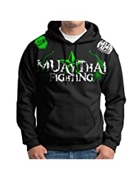 Muay Thai Fighting Two Color Logo Design Adult Hoodie Black Size Xl