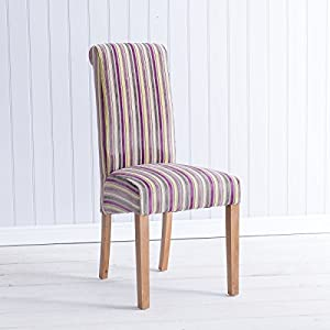 Oxford purple stripe upholstered dining chair for Striped upholstered dining chairs