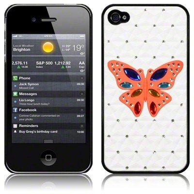 Mydoodah - Cover rigida per iPhone 4/4s, finitura in morbido gesso, colore: Nero