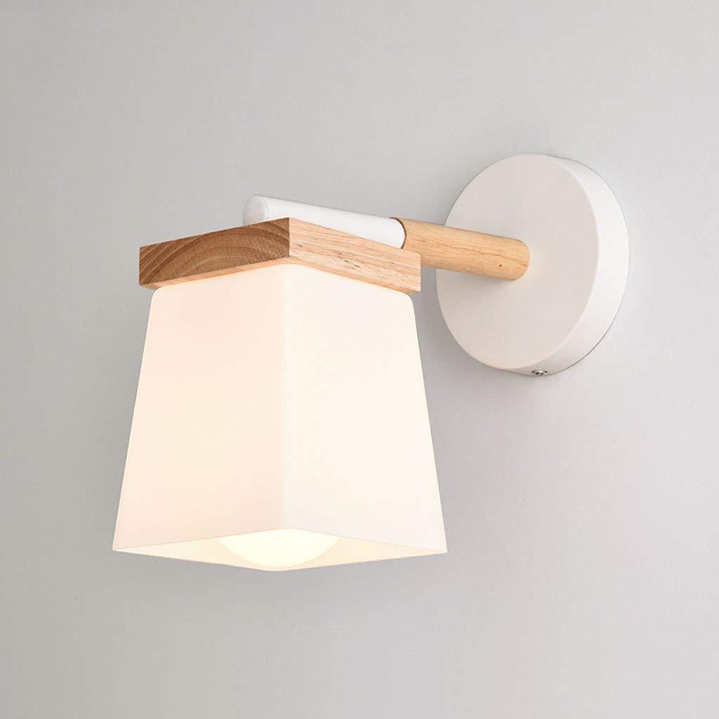 Wandleuchten Wandleuchte E27 Schlafzimmer Kopfteil aus Holz Wandleuchte moderne, minimalistische Glas Wandleuchte Schmiedeeisen LED-Gang Wandleuchte (Farbe  B)